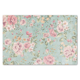 """Vintage victorian shabby chic pale blue floral red 10"""" x 15"""" tissue paper"""