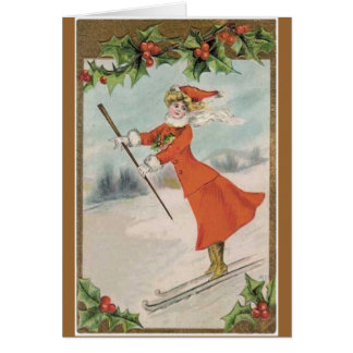 Vintage Victorian skiing Christmas card
