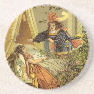 Vintage Victorian Sleeping Beauty Fairy Tale Drink Coaster