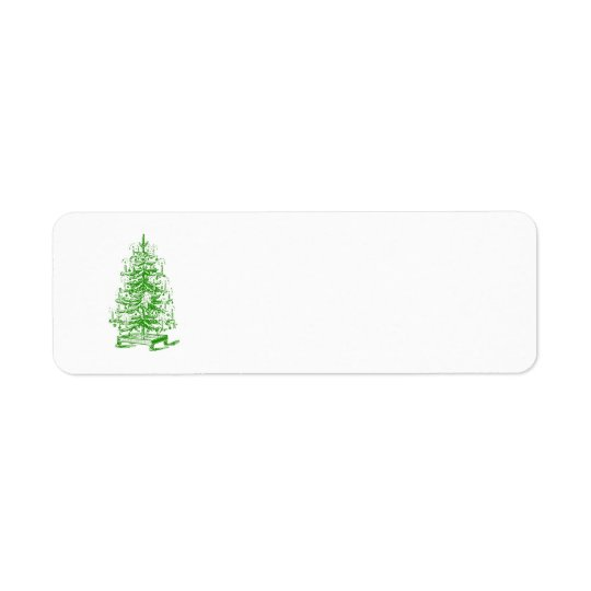 Vintage Victorian Steampunk Christmas Tree Holiday Return Address Label