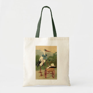 Vintage Victorian Stork and Baby Carriage Budget Tote Bag