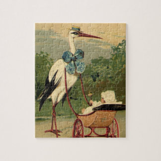 Vintage Victorian Stork and Baby Carriage Jigsaw Puzzle