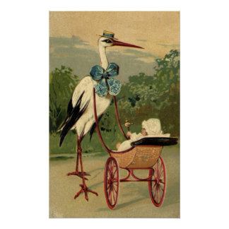 Vintage Victorian Stork and Baby Carriage Poster