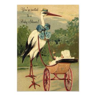 Vintage Victorian Stork Baby Shower 13 Cm X 18 Cm Invitation Card