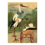 Vintage Victorian Stork Carriage Baby Shower Personalised Invites