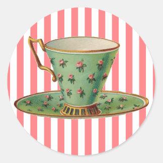 Vintage Victorian Tea Cup Round Sticker
