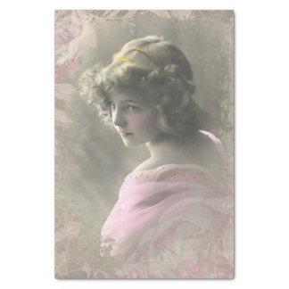 Vintage Victorian Teenage Girl Pink Tissue Paper