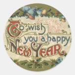 Vintage Victorian, To Wish You a Happy New Year Round Sticker