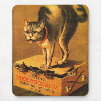 Vintage Victorian Trade Card Catlin Meerschaum Cat Mouse Pad