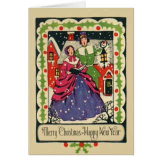 Vintage Victorian Traditional Christmas Caroler Card