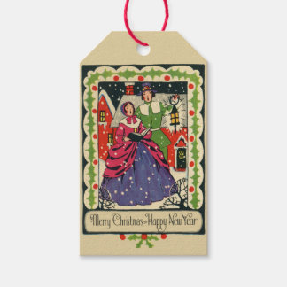 Vintage Victorian Traditional Christmas Garb 1800s Gift Tags