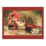 Vintage Victorian Valentine Day Cherub with Hearts 11 Cm X 14 Cm Invitation Card