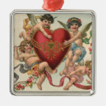 Vintage Victorian Valentines, Cherubs Angels Heart Silver-Colored Square Decoration