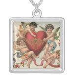 Vintage Victorian Valentines, Cherubs Angels Heart Square Pendant Necklace