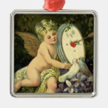 Vintage Victorian Valentines Day, Angel Love birds Silver-Colored Square Decoration