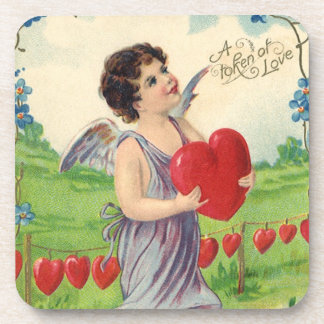 Vintage Victorian Valentines Day, Angel with Heart Drink Coaster