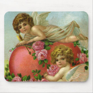 Vintage Victorian Valentines Day Angels Heart Rose Mouse Pad