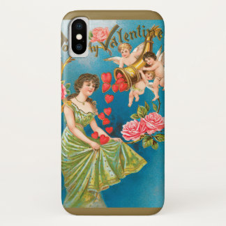 Vintage Victorian Valentine's Day Angels with Girl iPhone X Case