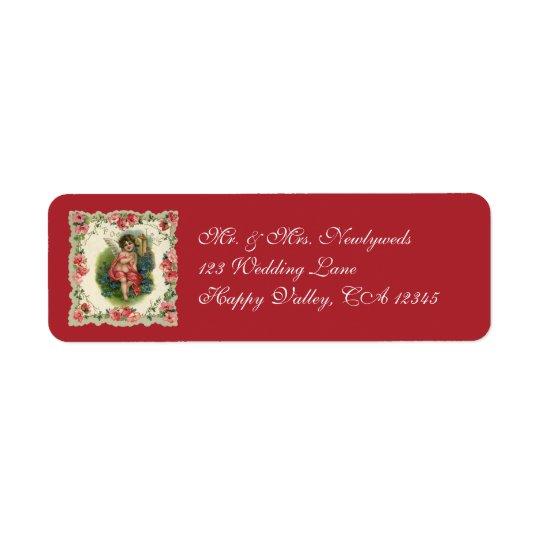 Vintage Victorian Valentine's Day, Cherub on Phone Return Address Label