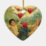 Vintage Victorian Valentine's Day, Cherubs Hearts Ceramic Heart Decoration