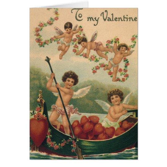 Vintage Victorian Valentine's Day, Cherubs in Boat Card