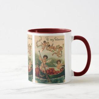 Vintage Victorian Valentine's Day, Cherubs in Boat Mug