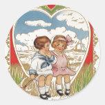 Vintage Victorian Valentines Day Children in Heart Round Sticker