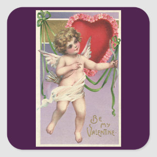Vintage Victorian Valentine's Day Cupid with Heart Square Sticker