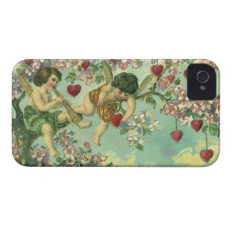 Vintage Victorian Valentines Day Cupids Heart Tree iPhone 4 Case-Mate Cases
