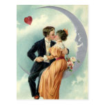 Vintage Victorian Valentine's Day Kiss on the Moon Postcard