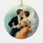 Vintage Victorian Valentine's Day Kiss on the Moon Round Ceramic Decoration