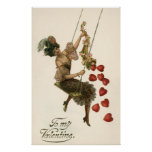 Vintage Victorian Valentine's Day, Lady and Hearts Poster