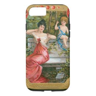 Vintage Victorian Valentines Day, Lady with Cherub iPhone 8/7 Case