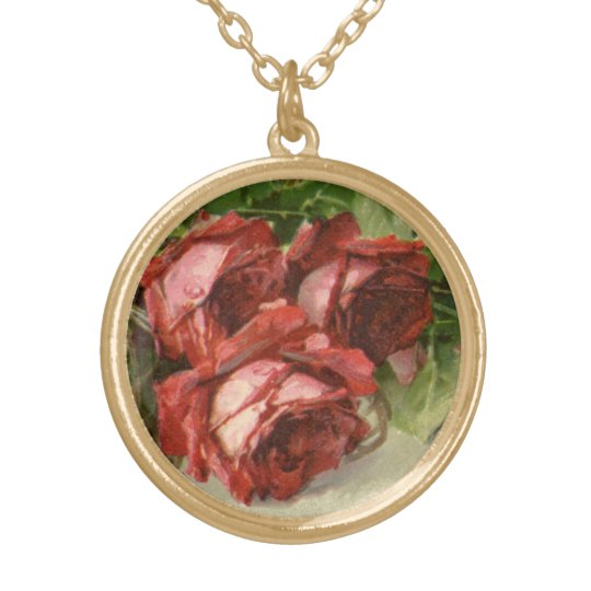 Vintage Victorian Valentine's Day, Red Roses Gold Plated Necklace