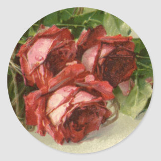 Vintage Victorian Valentine's Day, Red Roses Round Sticker