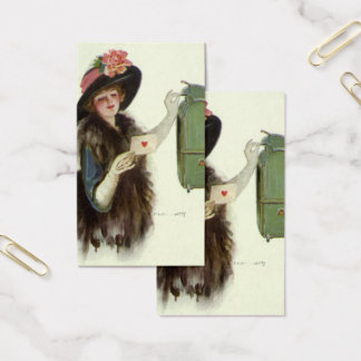 Vintage Victorian Valentines Day Woman Love Letter Business Card