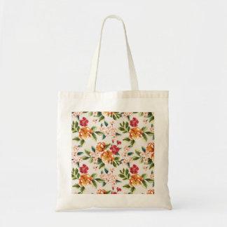 Vintage Victorian Watercolor Floral Pattern Budget Tote Bag