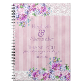 Vintage Victorian Watercolor Flowers Bridal Shower Spiral Notebook