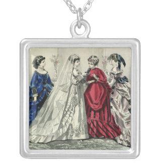 Vintage Victorian Wedding Bride Bridesmaid Bridal Square Pendant Necklace