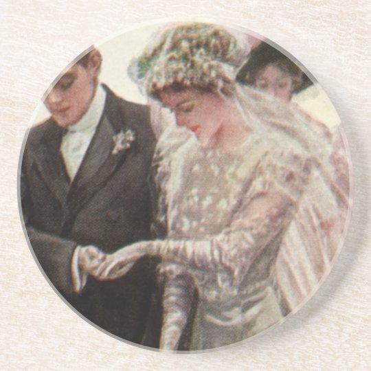 Vintage Victorian Wedding Ceremony Bride and Groom Coasters