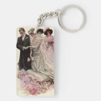 Vintage Victorian Wedding Ceremony, Bride Groom Double-Sided Rectangular Acrylic Key Ring