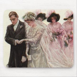 Vintage Victorian Wedding Ceremony, Bride Groom Mouse Pads