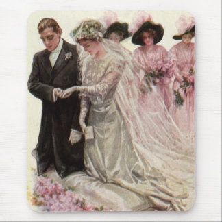 Vintage Victorian Wedding Ceremony Bride Groom Mouse Pads