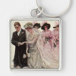 Vintage Victorian Wedding Ceremony, Bride Groom Silver-Colored Square Key Ring