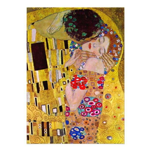 Vintage Victorian Wedding, The Kiss by Klimt Personalized Invitations