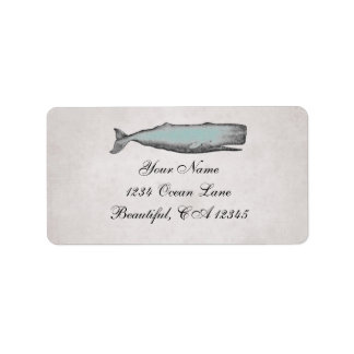 Vintage Victorian Whale Beach Address Label