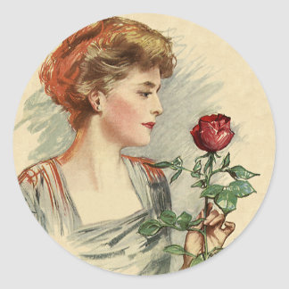 Vintage Victorian Woman Red Rose Flower Floral Stickers