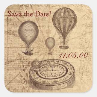 Vintage victoroian hot air balloons square sticker