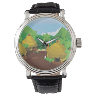 Vintage Video Game Palm Trees. Wrist Watch