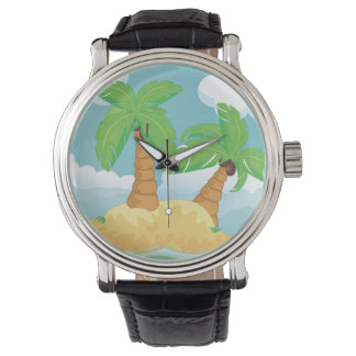 Vintage Video Game Palm Trees. Wrist Watches